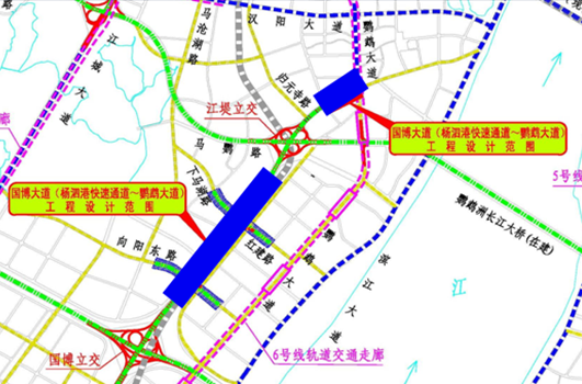 武汉国博大道杨泗港快速通道至鹦鹉大道路段28日通车