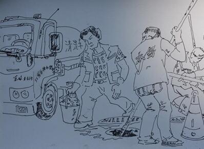 工地 用画作向劳动者致敬