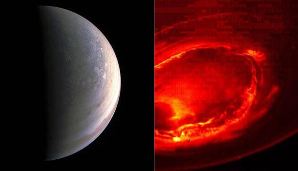 探测船朱诺号(juno)拍摄到木星北极和南极极光的画面
