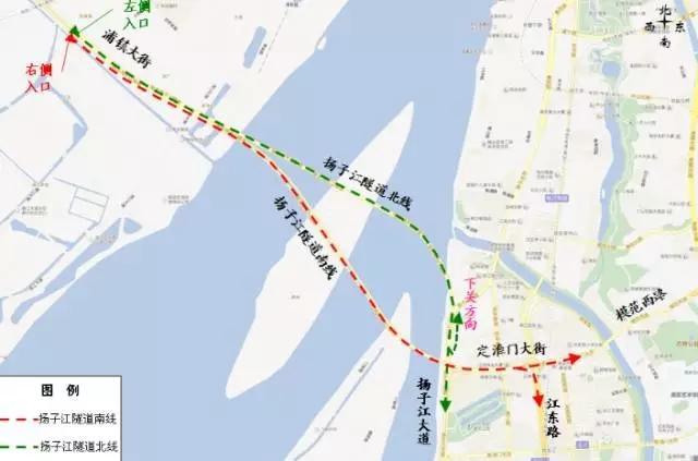 扬子江隧道出入口位置示意图(出城方向)