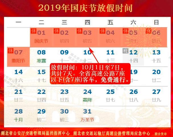 2019年国庆假期湖北省高速公路出行指南