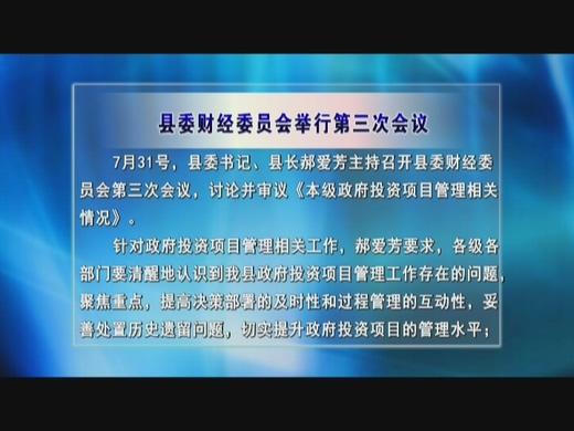 县委财经委员会举行第三次会议 讨论审议《本级政府投资项目管理相关情况》