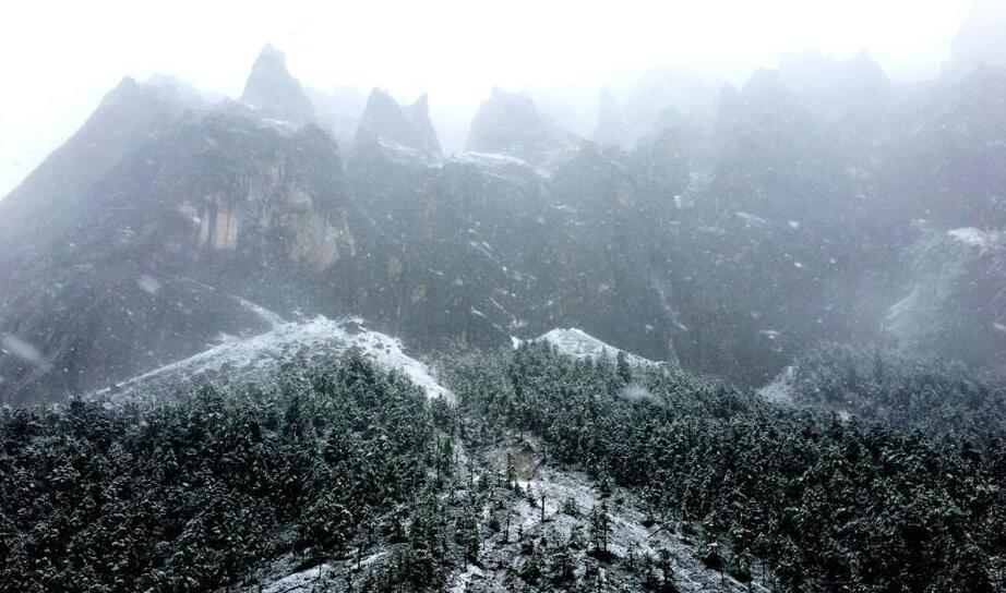 9月20日,受冷空气影响,四川甘孜州稻城亚丁景区雪花飘舞,大雾弥漫