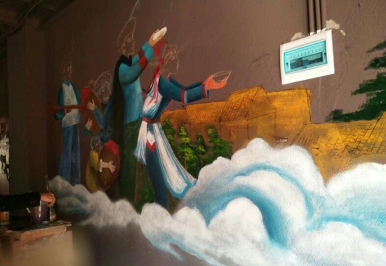 手绘民族风情墙 推介地方特色文化