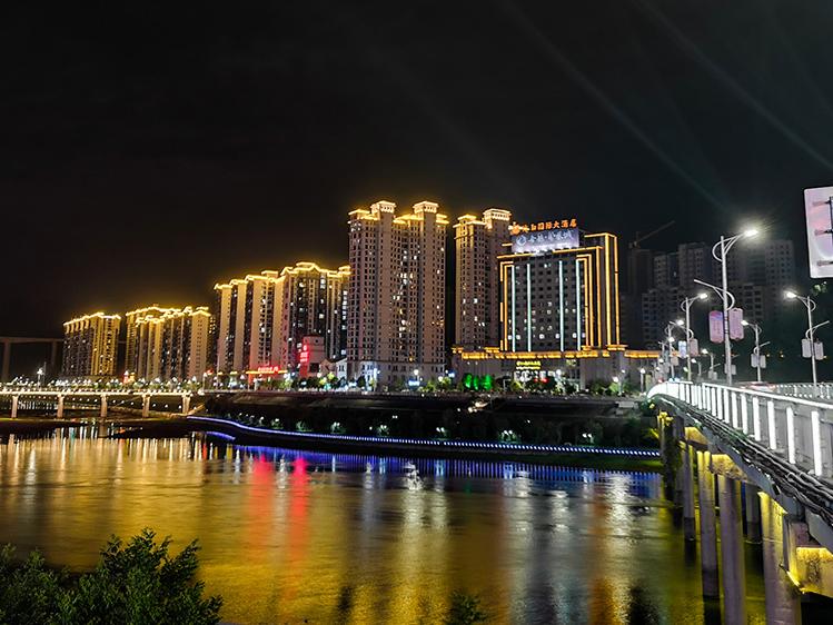 竹山:堵河两岸夜景美如画