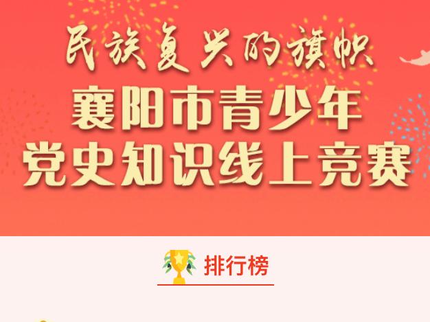 持续更新!襄阳市青少年党史知识线上竞赛排名来啦