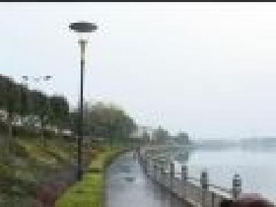 滨河大道沿河路灯遭损坏
