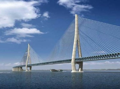 钢梁斜拉桥结构,为目前世界最大跨径公铁两用斜拉桥