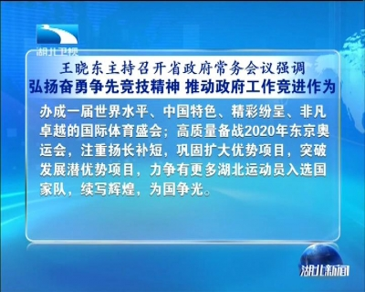 王晓东强调:弘扬奋勇争先竞技精神 推动政府工作竞进作为