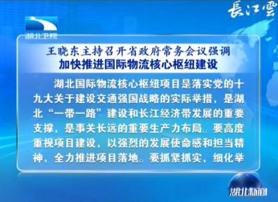 王晓东主持召开省政府常务会议强调 加快推进国际物流核心枢纽建设 创新体制机制着力打造特色小镇