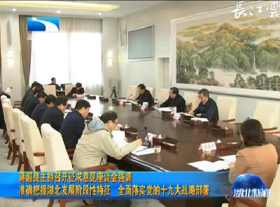 蒋超良主持召开征求意见座谈会强调 准确把握湖北发展阶段性特征 全面落实党的十九大战略部署