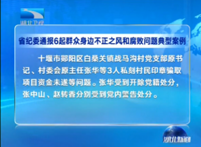 V视 | 湖北省纪委通报6起群众身边不正之风和腐败问题典型案例