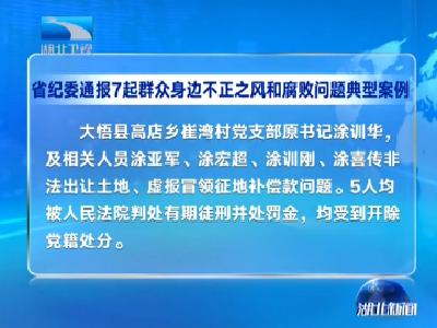 V视 | 湖北省纪委通报7起群众身边不正之风和腐败问题典型案例