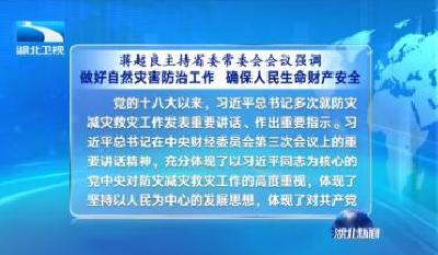 V视 | 蒋超良主持省委常委会会议强调 做好自然灾害防治工作 确保人民生命财产安全