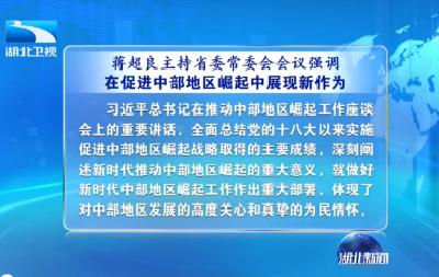 蒋超良主持省委常委会会议强调 在促进中部地区崛起中展现新作为 推动纪检监察工作实现高质量发展