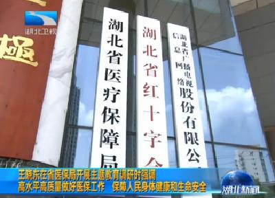 V视 | 王晓东在省医保局开展主题教育调研时强调 高水平高质量做好医保工作 保障人民身体健康和生命安全