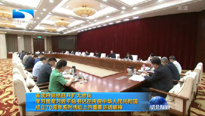 湖北省政府黨組召開擴大會議 學習貫徹習近平總書記在慶祝中華人民共和國成立70周年系列活動上的重要講話精神