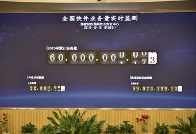 中国快递年业务量突破600亿件