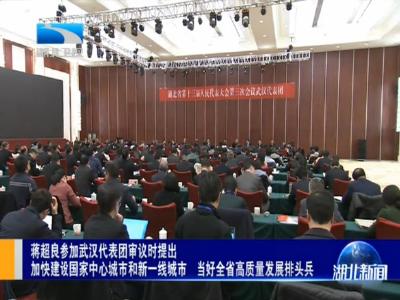 V視|蔣超良參加武漢代表團審議時提出 加快建設國家中心城市和新一線城市 當好全省高質量發展排頭兵