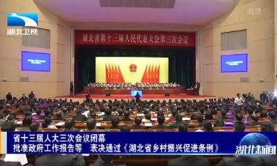 省十三届人大三次会议闭幕 批准政府工作报告等 表决通过《湖北省乡村振兴促进条例》