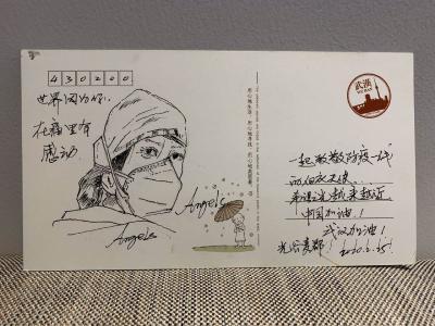 暖心!小区业主手绘明信片感谢援汉医护人员