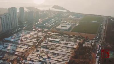航拍 | 雷神山医院进度过半  2149间板房场外拼装