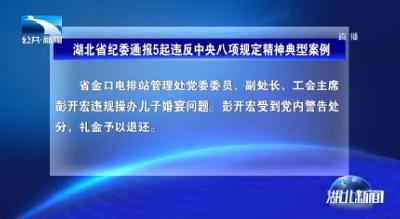 湖北省纪委通报5起违反中央八项规定精神典型案例