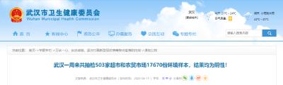 连续一周抽检超市、农贸市场后,武汉市卫健委发布重要通告!