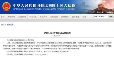 中国驻比利时大使馆提醒在比中国公民注意个人安全