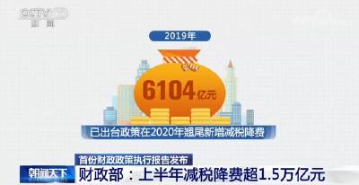 财政部:上半年减税降费超1.5万亿元