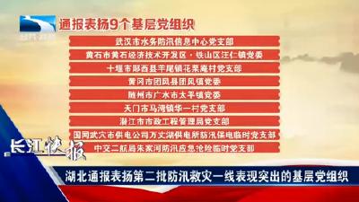 长江快报丨湖北通报表扬第二批防汛救灾一线表现突出的基层党组织