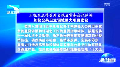王晓东主持召开湖北省政府常务会议强调 加快公共卫生领域重大项目建设 做好因疫因灾困难群众生活救助