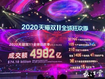 再破纪录!2020天猫双十一成交额突破4982亿元