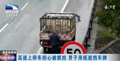 高速上停车担心被抓拍 男子用纸遮挡车牌