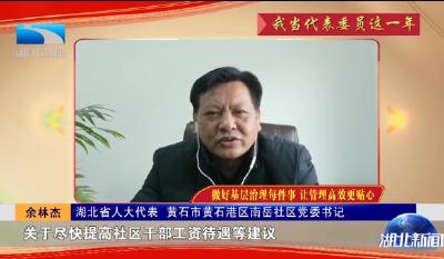 湖北省人大代表余林杰:做好基层治理每件事 让管理高效更贴心