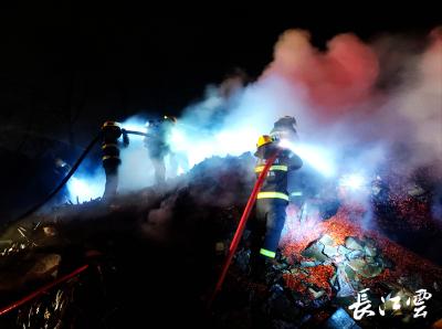 高速满载30吨货物半挂车轮胎起火 咸宁消防紧急扑救