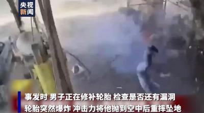 """可怕!越南工人修补轮胎时被""""炸飞"""""""