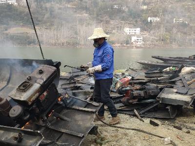 正规网赌软件app县:60艘退捕渔船集中拆解