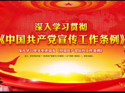 贯彻落实《中国共产党宣传工作条例》 认真做好新时代宣传思想工作