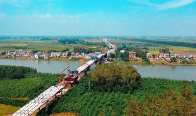 监利市内河跨度最大的桥 建成后将贯通监利南北!