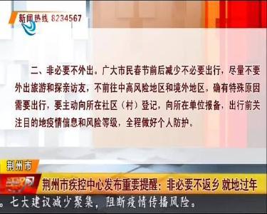 荆州市疾控中心发布重要提醒:非必要不返乡 就地过年