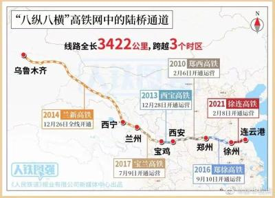 """徐州至连云港高速铁路正式开通运营  """"八纵八横""""高速铁路网全线贯通!"""