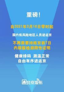 3月16日起,国内低风险地区人员进返京不再需核酸证明