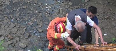 七旬醉酒老人掉下河沟,监利消防员架梯救人