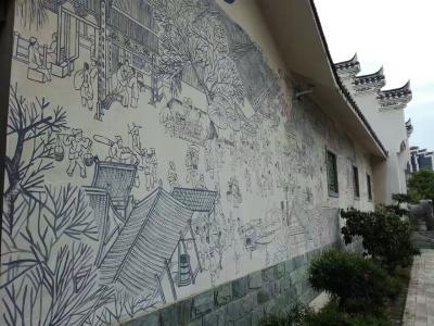 宜都画家白墙描绘《清明上河图》