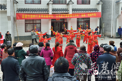 【荆楚网】湖北宜都:民俗文化走进安置新区闹新春