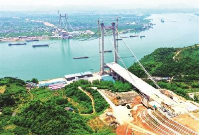 白洋长江大桥完成主缆架设