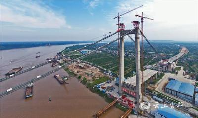 白洋长江公路大桥转入吊索安装施工