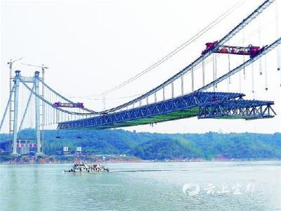白洋长江大桥吊装桥面横梁