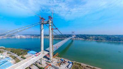 VR全景丨360度带你看白洋长江公路大桥钢桁梁合龙!